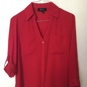 Sheer-ish red BCX Y neck button up